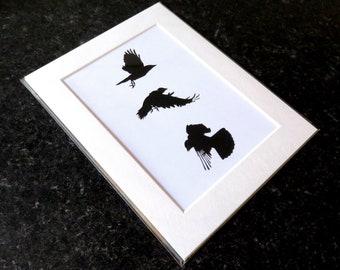 Crow print, A5, black and white, bird print, wildlife art, bird art, crow art, gothic art, crow drawing, charcoal drawing,