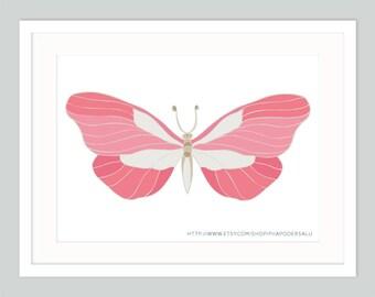 Pink Butterfly Art Prints - Butterfly Bedroom Girls