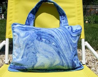 Pillow Beach Pillow Travel Pillow  Blue Swirl