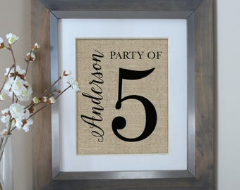 Party of 5 Sign, Farmhouse Decor, Party of 5, Farmhouse Style, Pregnancy Announcement, Gallery Wall, Gallery Wall Decor, Rustic Home Decor