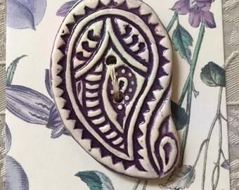 Handmade Ceramic Button Purple Paisley Design