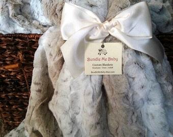 Minky Fur Adult Blanket FAUX FUR Snow Leopard Gift Mom Sister Adult Teen Tween LARGE Beige Brown Spotted Speckled Bedding