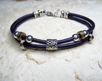 Purple Anklet, Leather Bracelet, Beach Anklets, Petite to Plus Size, Ankle Bracelet