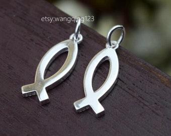 2 pcs sterling silver christian fish charm pendant
