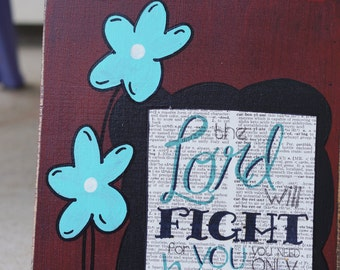 The lord will fight for you handmade card