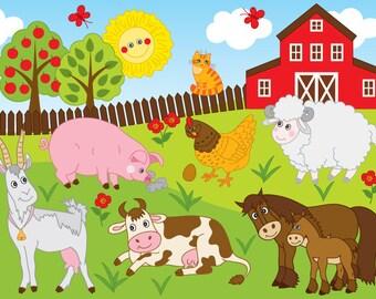 Farm Clipart - Vector Farm Clipart, Farm Animals Clipart, Animal Farm Clipart, Farm Animal Party Clipart, Farm Clip Art