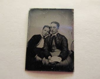 antique miniature gem tintype photo - 1800s, affectionate women, mother and daughter