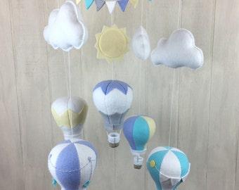 Hot air balloon mobile - baby mobile - baby crib mobile - cloud mobile - sun mobile - gender neutral - nursery mobile - nursery baby mobiles