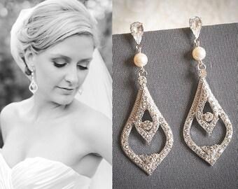 Wedding Earrings, Bridal Earrings, Swarovski Crystal and Pearl Dangle Earrings, Chandelier Earrings, Vintage Style Bridal Jewelry, RABEA
