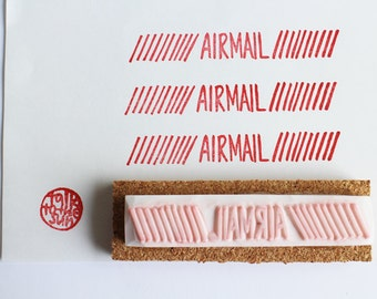 airmail rubber stamp | snail mail stamp | diy mailing packaging | holiday gift wrapping | office stationery | hand carved by talktothesun