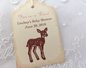 You're a Deer Personalized Baby Shower Tags Thank You Favor Tags Set of 10