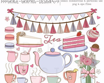 Tea Party Clipart set, Hand Illustrated Clipart, Cupcake Clipart, EPS, Small Commercial Use Clipart Set
