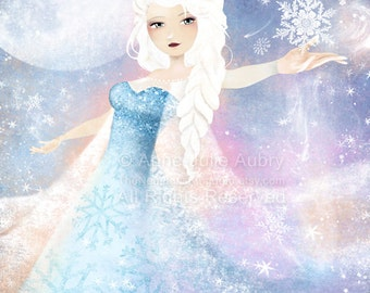 Elsa (Frozen) - open edition print - Whimsical Art