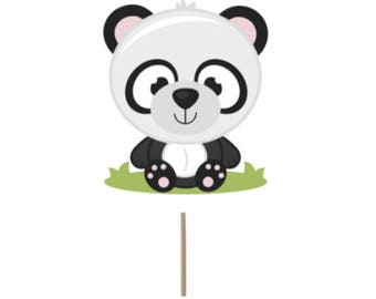 Panda Cupcake Topper, Birthday cupcake topper, panda bear cupcake topper, panda theme, panda picks, panda cake topper, panda decorations