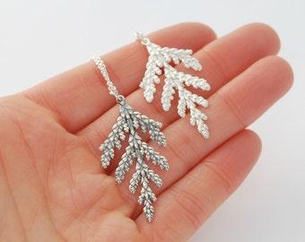 Cedar necklace - sterling silver botanical necklace cedar branch