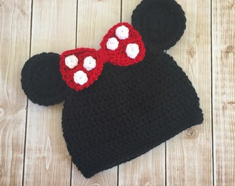Minnie Mouse Inspired Hat/ Crochet Minnie Mouse Hat/ Available in Newborn to Adult Size- MADE TO ORDER
