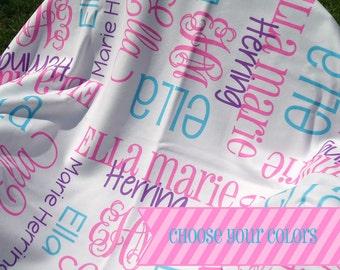 Baby Girl Blanket - Personalized Receiving Blanket for Girls - Custom Name Baby Blanket - Newborn Swaddling Blanket - Baby Girl Photo Prop