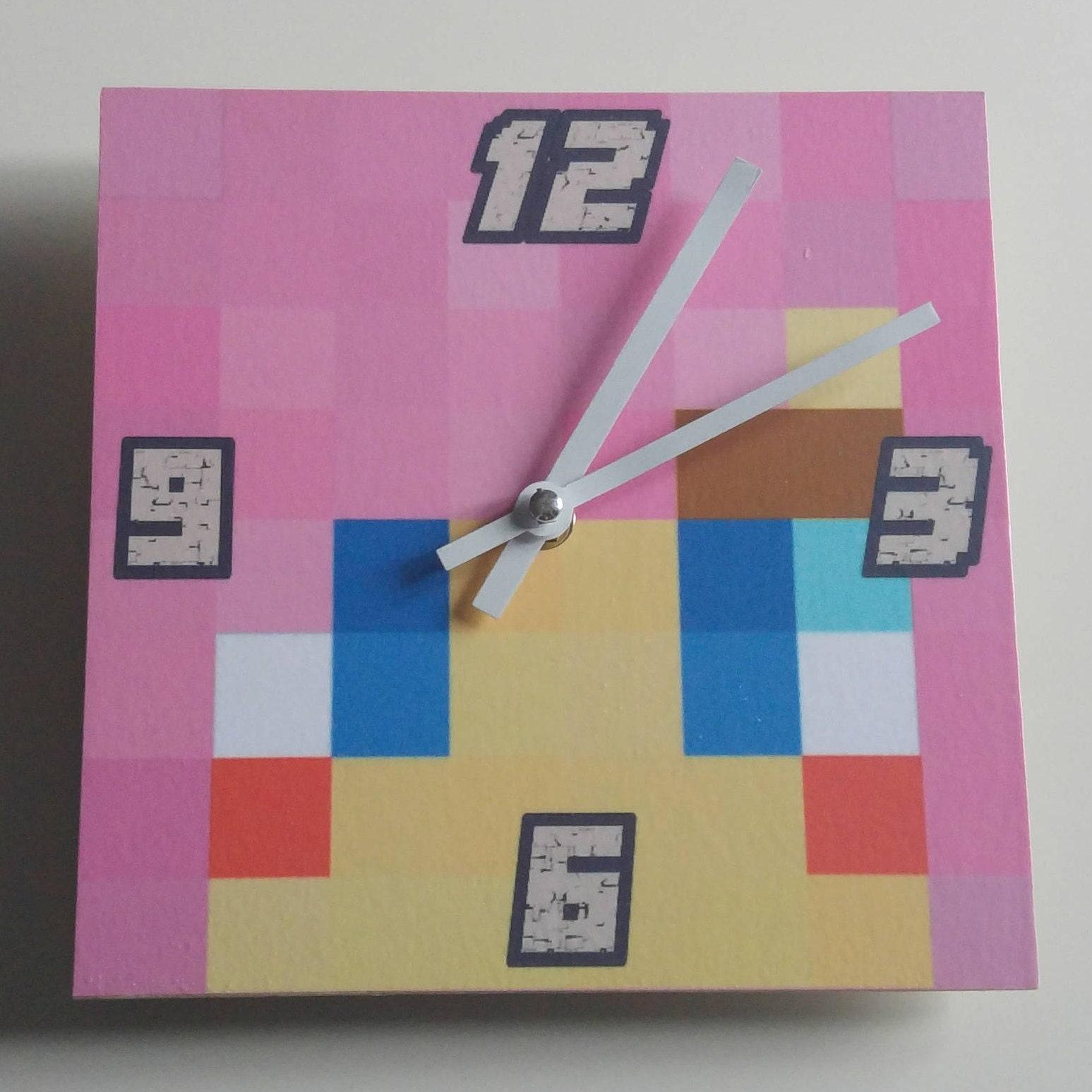 Minecraft inspired Pink shadow lady clock wooden Handmade