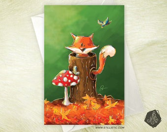Greeting card mothers little Fox in forest party