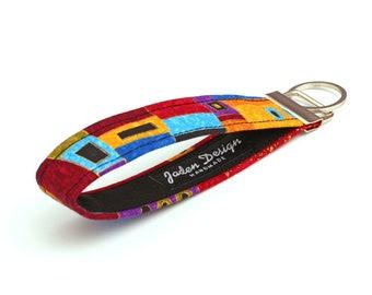 Fabric Keychain Wristlet, Fabric Key Holder, Key Lanyard, Hippie Key Fob, Handmade Keyfob - Klimt inspired swirls gold blue