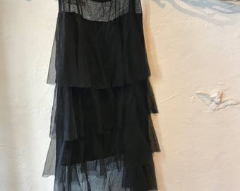 Tulle layered skirt in black