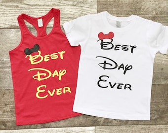 Girls Boys Unisex Disney Mickey Ears Best Day Ever S/S T shirt Reveal Surprise Gray Black Red Yellow Sibling set TSLM