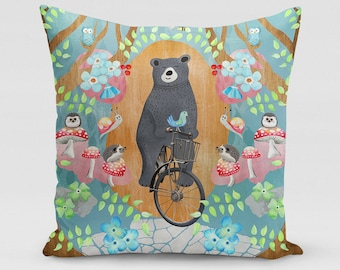 Bicycle Riding Bear Square Pillow | Home Decor | Studio Carrie | Gift