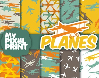 Airplanes - Orange Yellow Blue Gray - Fly Sky Travel Aircraft Planes - Digital Scrapbooking Paper Pack - My Pixel Print