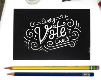 "Political Postcards: Set of 10 ""Every Vote Counts"" postcards, perfect for writing to your reps or get out the vote"