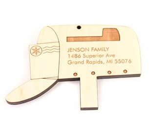 personalized mailbox ornament - ideal gift for families and new homeowners, wooden keepsake with homegrown organic finish