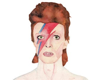 Ziggy Stardust/David Bowie Watercolor Print (FREE U.S. Shipping)