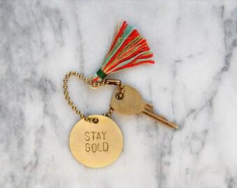 personalized brass keychain / key tag