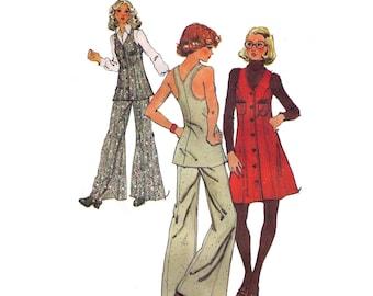 Simplicity 5754, 70s sewing pattern, size 7 bust 32 waist 24 women's jumper pattern, tunic pattern, wide leg pants pattern