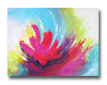 Painting modern abstract chic colorful flower blue purple pink yellow green