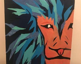 A4 blue and orange lion canvas