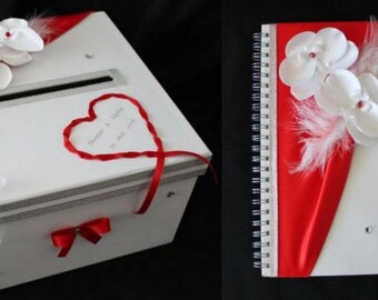 "Set guestbook and URN ""Orchids"" white / red, custom"