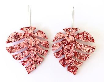 Mid Monnie Drops - Dusty Pink Glitter - Laser Cut Drops Earrings - Leaf Earrings - Each To Own