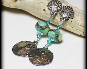 Beachcomber... Handmade Jewelry Earrings Beaded Lampwork Crystal Beach Seashell Sea Shell Sand Dollar Aqua Ivory Lime Silver Pewter Post