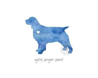 English Springer Spaniel Dog Watercolor Painting Digital Art Print Silhouette Custom Wall Decor, Home, Office, Nursery, Room Decor