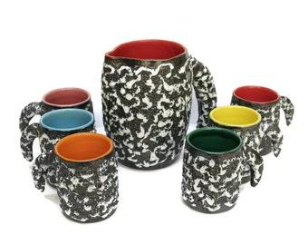 Mid Century Vallauris Lemonade Service. 1960s Pitcher and Goblet Set. Mid Century Lava Glaze Ceramics.