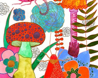 Foraging For Your Heart : Original Watercolour & Ink Painting on Paper - Flowers, Mushrooms, Insects