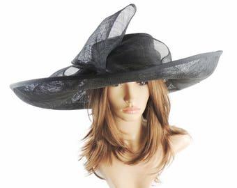 Black Big Sinmay Hat for Kentucky Derby, Weddings, Ascot, Garden Parties