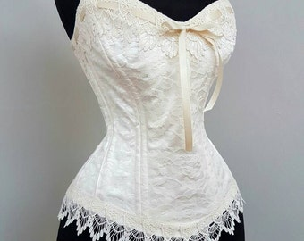 Chloe- Beautiful Custom Made Wedding Corset in ivory duchesse and lace