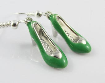 Wizard of Oz Inspired Wicked Witch Wickedly Green Shoe Charm Hook Earrings 40mm