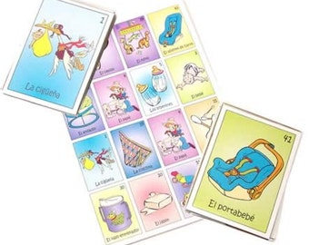Loteria Baby Shower Mexican Loteria La Loteria Mexican Bingo Cards Game Boards and Deck Ready to Play (8 or 18 or 28 boards)