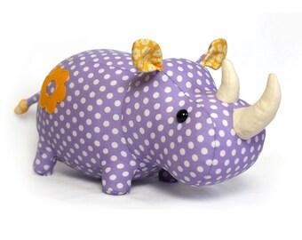 Rhino stuffed animal toy sewing pattern tutorial rhinoceros PDF instant download