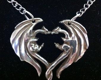 Dragon Heart Sterling Silver Pendant