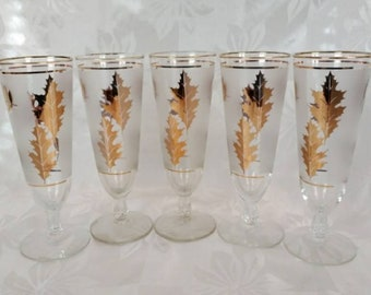 Gorgeous Set of 5 Gold Leaf Pilsner Glasses by Libbey - Retro Barware - Excellent Condition!