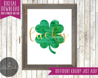 St. Patrick's Day Printable, Wall Art, Wall Print, Four Leaf Clover, Shamrock, Lucky, Gold, Green, Irish - Printable DIY