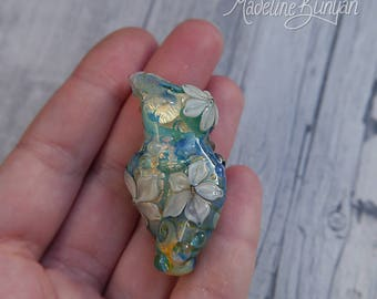 Water Garden Goddess, small, green and gold with blue Swirls and cream flowers Lampwork Focal Bead